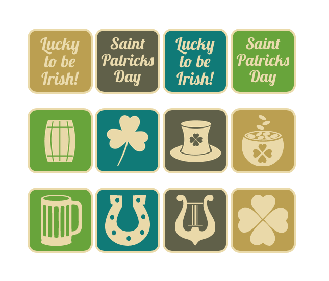 Saint Patrick's Day Vintage Web Buttons - Hover View